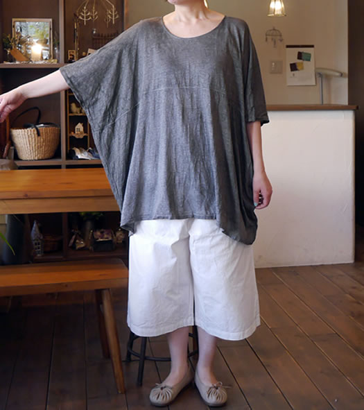 91055, ichi Antiquite's, イチアンティークス, Linen T-Cloth Hand-dye Pull-Over