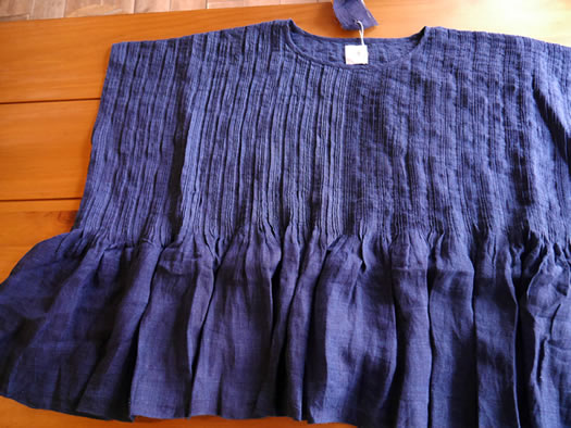 maison de soil, メゾンドソイル,INMDS18143, Handwoven Yarn Dyed Indigo Linen Random Pleats Pull-Over