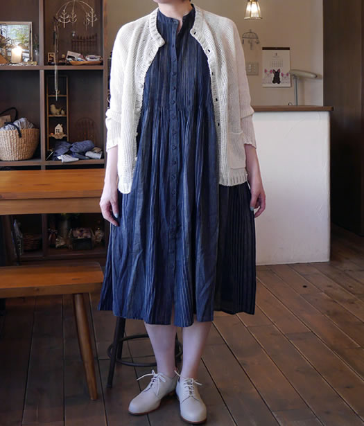 maison de soil, メゾンドソイル, INMDS18162, Handwoven Yarn Dyed Stripe Band Collar No Sleeve Shirt Dress