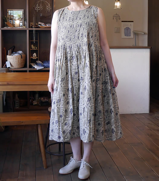 maison de soil, メゾンドソイル, INMDS18174, Voile Leaf & Flower Print Mini Pintuck No Sleeve Dress