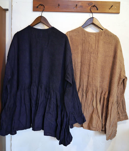maison de soil, メゾンドソイル, INMDS18611, Handdyed Twill Khadi Ball Button Crew-Neck Shirt