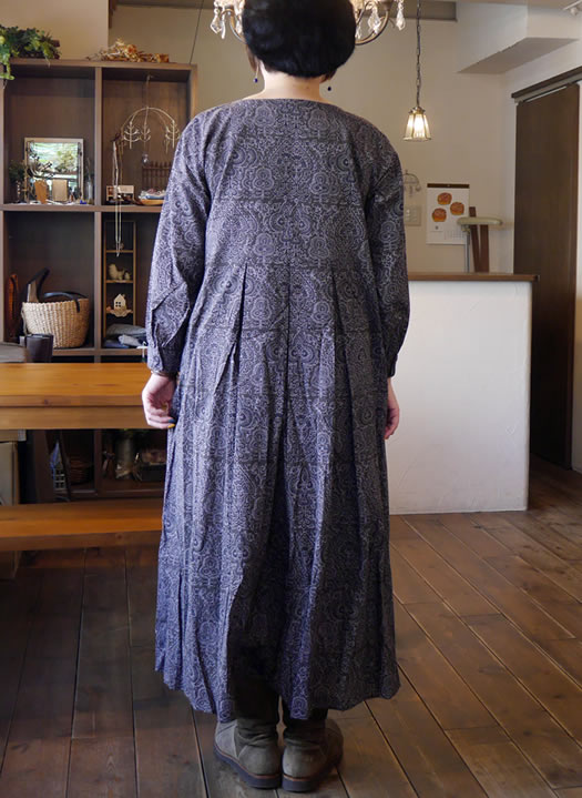 maison de soil, メゾンドソイル, INMDS18633, Voile Big Tree Print Inverted Pleats Long Sleeve Dress