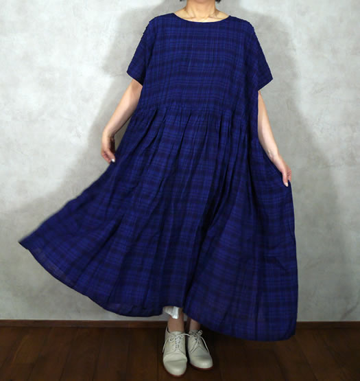 maison de soil, メゾンドソイル, INMDS19113, Hand Woven Yarn Dyed Natural Indigo Linen Check Random Pleats Dress
