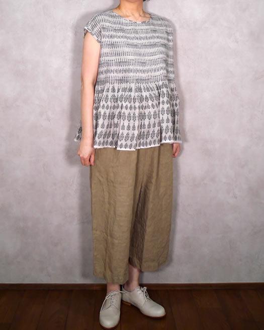maison de soil, メゾンドソイル,INMDS19201, Hand Woven Linen Patterned Stripe Print Boat-Neck Shirt with Mini Pintuck