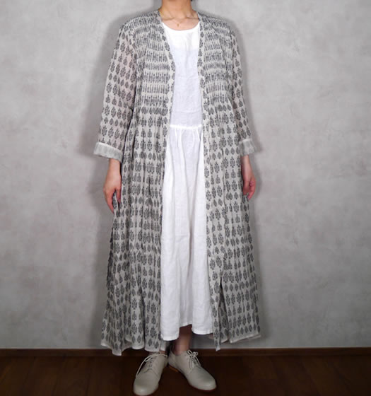 maison de soil, メゾンドソイル,INMDS19203, Hand Woven Linen Patterned Stripe Print Mini Pintuck Wrap Dress
