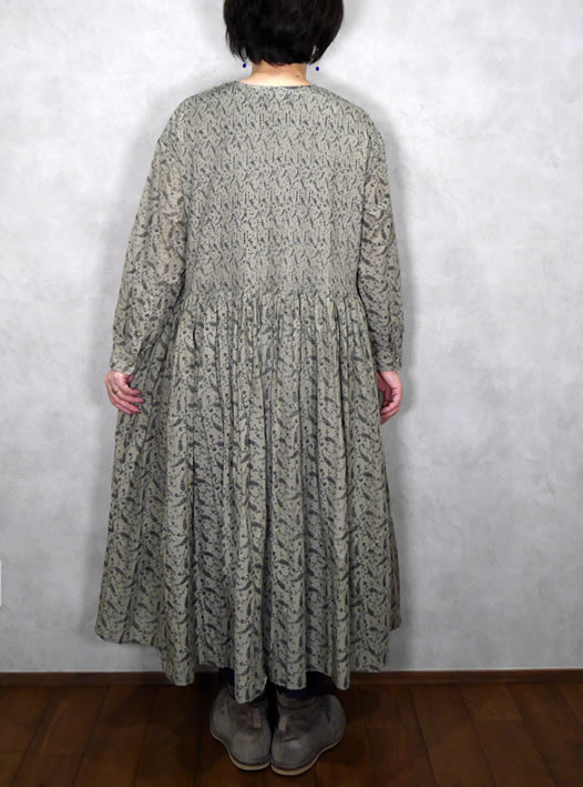 maison de soil, メゾンドソイル,INMDS19732, 80's Voile  Paisley Print Ball Button Crew-Neck Shirt Dress With Mini Pintuck