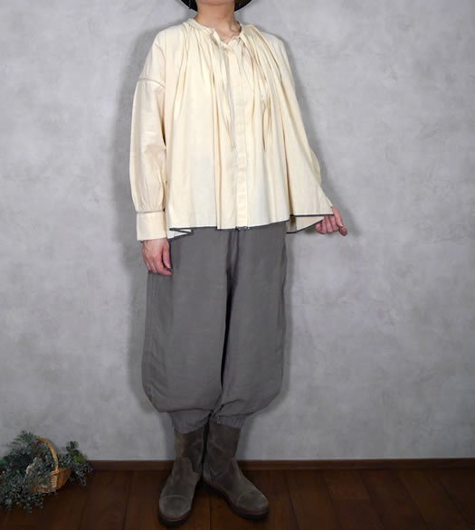 maison de soil, メゾンドソイル,Heavy Cotton Khadi with Selvage Neck Gathered Shirt,INMDS20721