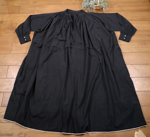 maison de soil, メゾンドソイル,Heavy Cotton Khadi with Selvage Neck Gathered Dress,INMDS20722