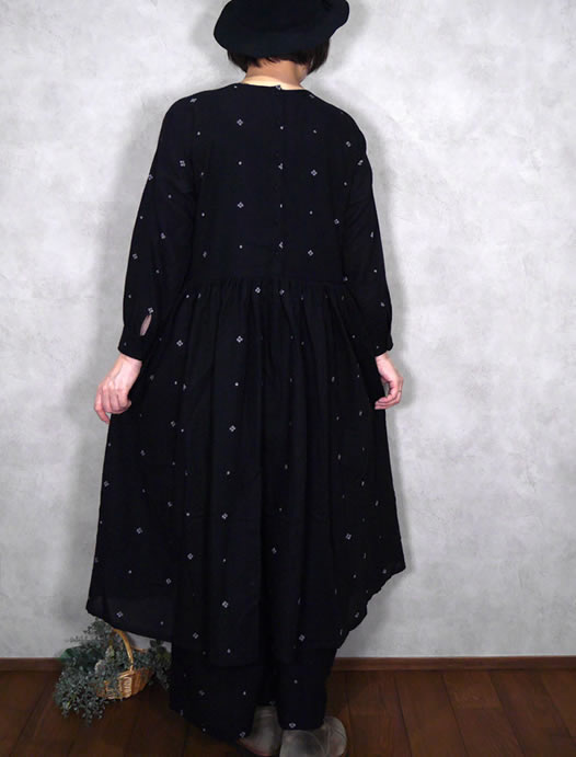 maison de soil, メゾンドソイル,Boiled Wool Jacquard with Hand Stitch Rajasthan Tuck Gathered Dress,INMDS20743