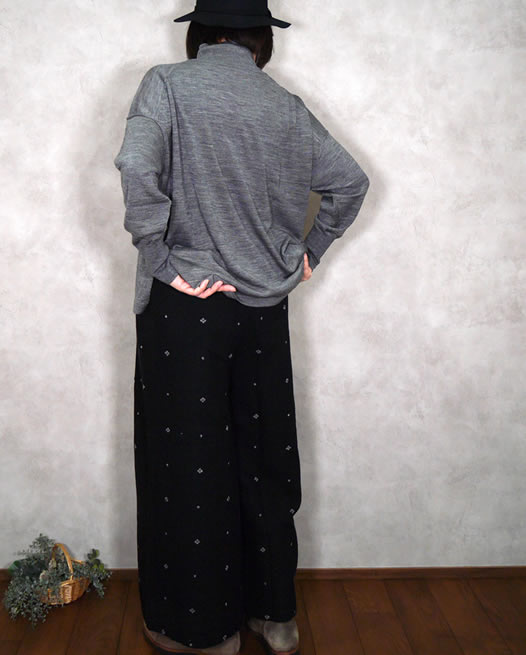 maison de soil, メゾンドソイル,Boiled Wool Jacquard with Hand Stitch Easy Pants,INMDS20744
