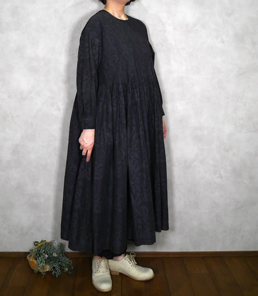 maison de soil, メゾンドソイル,INMDS20772, 80's Voile Small Paisley Block Print Crew-Neck P/O Dress with Mini Pintuck