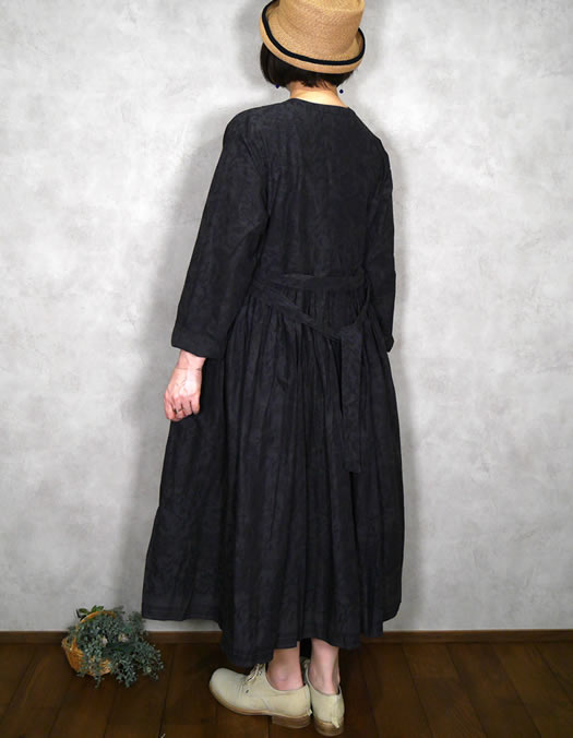 maison de soil, メゾンドソイル,INMDS20773, 80's Voile Small Paisley Block Print Rajasthan Tuck Gathered Wrap Dress
