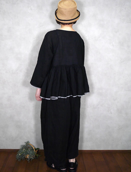 maison de soil, メゾンドソイル,80's Handwoven Linen Plain With Selvage Rajasthan Tuck Gathered Pull-Over,INMDS21001