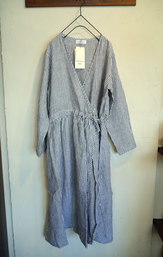 soil, ソイル, INSL18315, Linen Stripe Cache Coeur One Piece