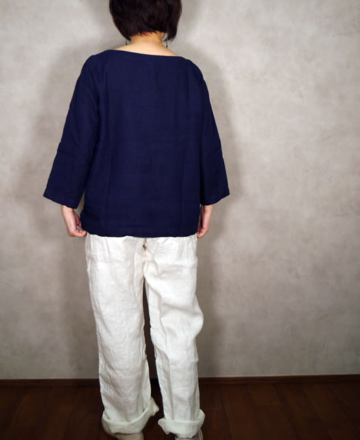 ARMEN, アーメン, NAM1463LP, Linen Boat Neck 3/5 Sleeve Shirt