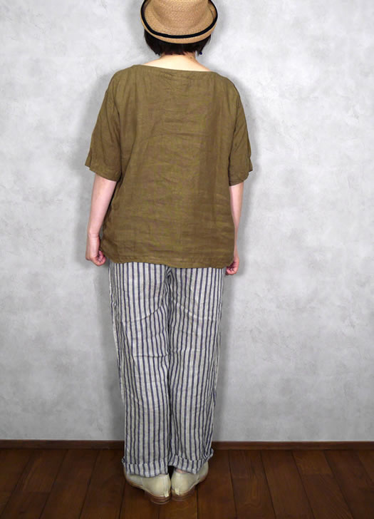 ARMEN, アーメン, NAM1631LP, Linen Boat Neck Short Sleeve Shirt