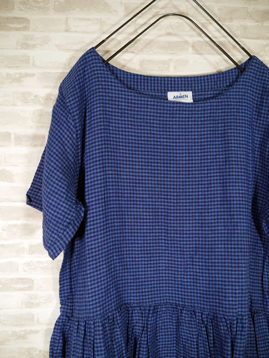 ARMEN, アーメン, NAM1632LC, Linen Check Boat Neck Single Sleeve One Piece