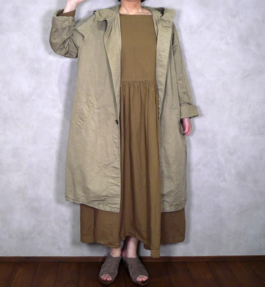 Harrow Town Stores, NHT17001CL, Cotton Linen Hooded Coat