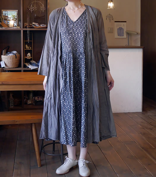 maison de soil, メゾンドソイル,NMDS18034, Organic Check Patchwork Mini Pintuck Wrap Dress