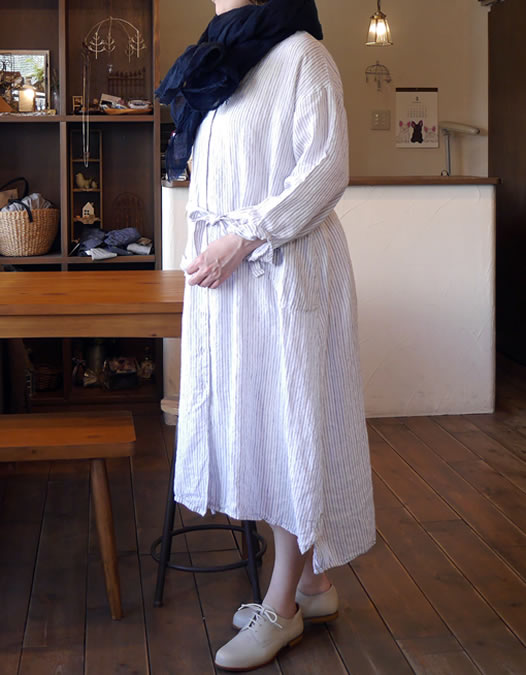 Hand Dyed Linen Overdyed Stole, maison de soil, NMDS18101, メゾンドソイル