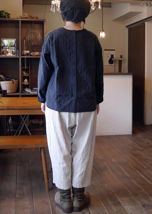 maison de soil, メゾンドソイル, NMDS18533C, Quilted Silk/Cotton Back Opening Crew-Neck Shirt
