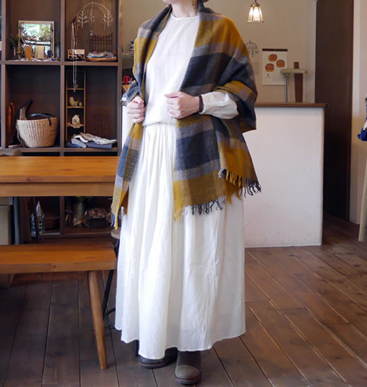 maison de soil, メゾンドソイル, NMDS18544, Boiled Wool Rajasthan Tuck Gathered Skirt
