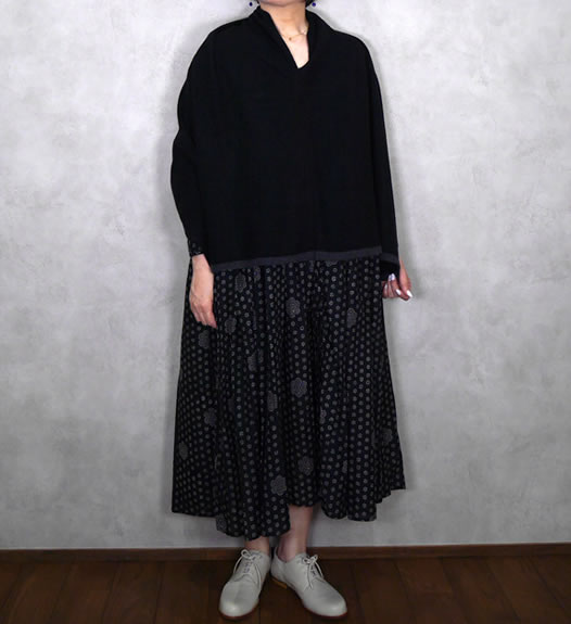 maison de soil, メゾンドソイル,NMDS19613, 80's Voile Block Print Hand Stitch Rajasthan Tuck Gathered Dress