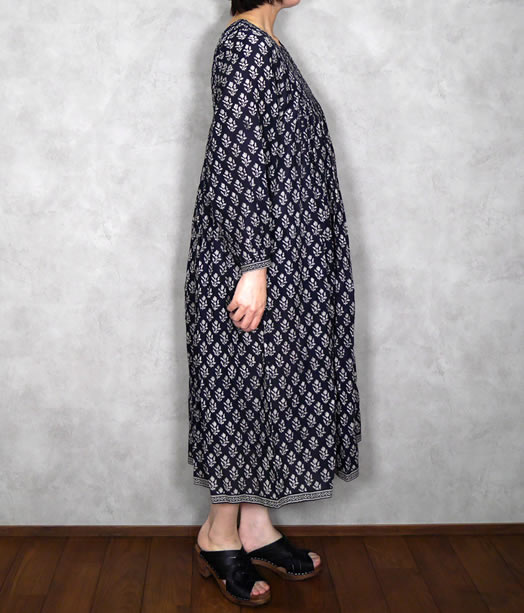 maison de soil, メゾンドソイル,NMDS20092, Flower Block Print Front Quilt Rajasthan Gathered Dress