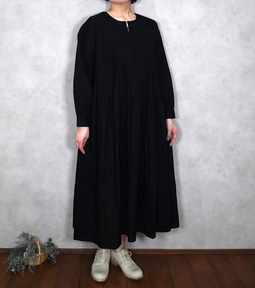 maison de soil, メゾンドソイル,NMD20542, 80's Organic Big Check Ball Button Crew-Neck Shirt Dress with Pintuck