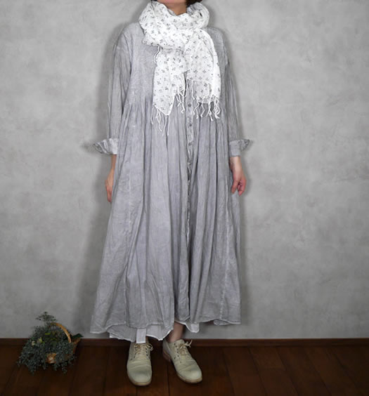 maison de soil, メゾンドソイル,80's Organic Voile Stripe Banded Shirt Dress with Mini Pin-Tuck,NMDS21183