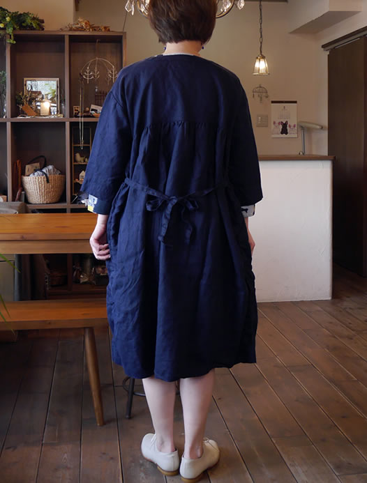NMPA1711L, ARMEN, アーメン, Double Breasted 3/4 Sleeve Smock Dress