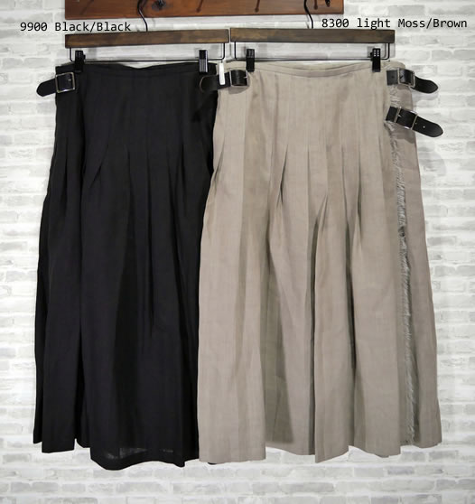 O'neil of Dublin, オニールオブダブリン, NOD0901, Low Waist Pleats Wrap Skirt with Pin