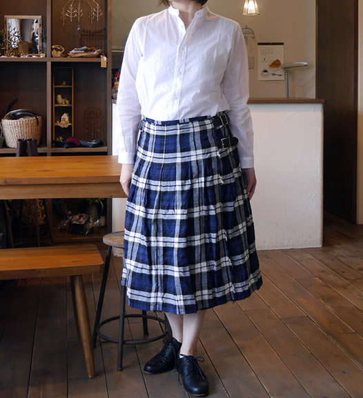 O'neil of Dublin, オニールオブダブリン, NOD1701, Low Waist Pleats Wrap Skirt with Pin