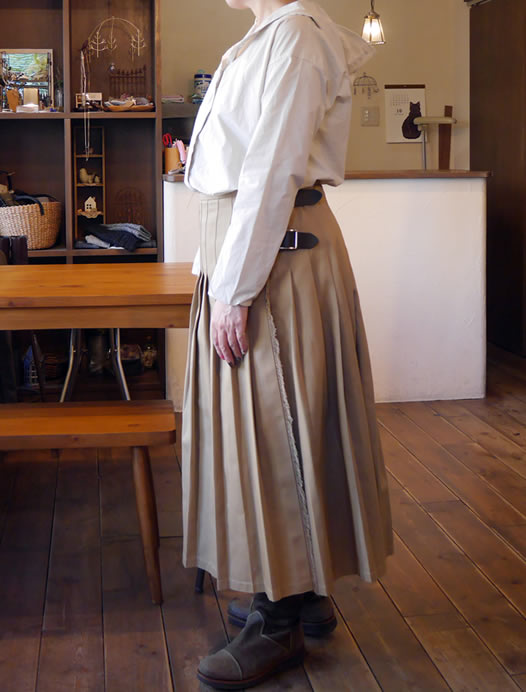 O'neil of Dublin, オニールオブダブリン, NOD1702, Low Waist Pleats Wrap Skirt (Cotton Twill)