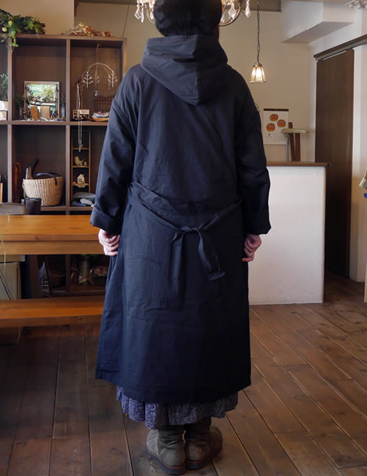 soil, ソイル, NSL17502, Organic Popllin with Wool, Hooded Long Coat with Belt, フード付きロングコート