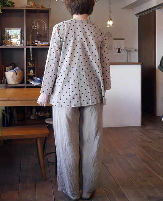 soil, ソイル, NSL18101, Voile Dot Print V-Neck Gathered Shirt
