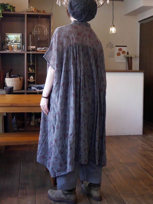 soil, ソイル, NSL18522, Wool Flower Print Gathered Shirt Dress