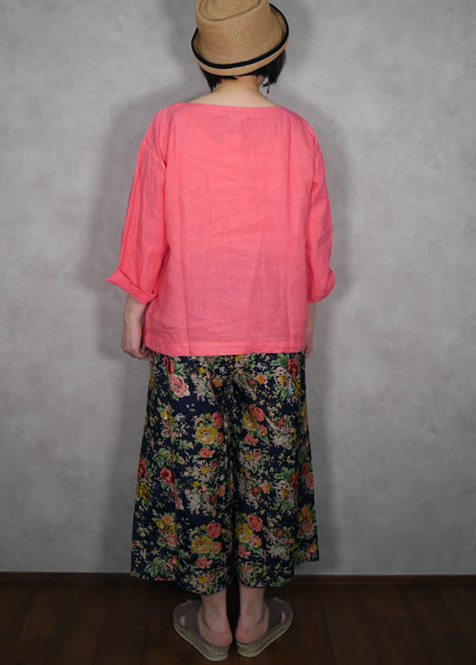 soil, ソイル, NSL19026, Cotton Silk Rose Flower Print Easy Pants