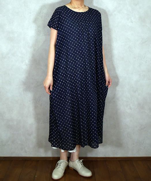 soil, ソイル, NSL19063, Voile Dot Print French Sleeve Dress