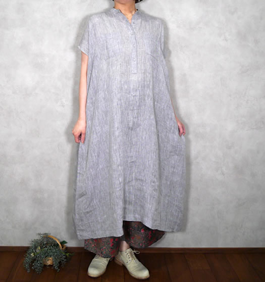60's Linen Chambray Banded Collar French Sleeve Dress,NSL21014