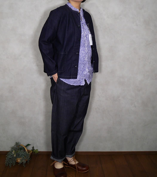 Vas-y Lentement, ヴァジーラントマン,  Printed Cambric Banded Collar Long Sleeve Oversized Shirt, NVL1951SW