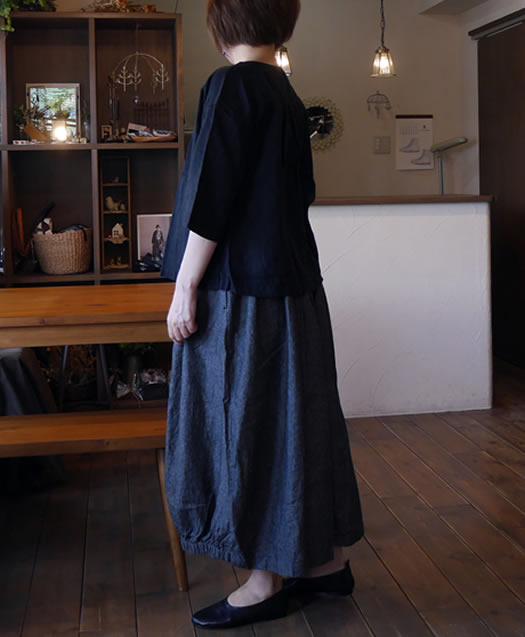 nk-11527, nachukara, Linen Denim 2Way Skirt
