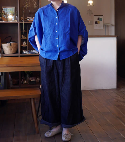 nachukara,ナチュカラ, nk-40138, Linen Chambray Big Silhouette Shirt