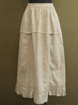 cir.1910's beige printed skirt