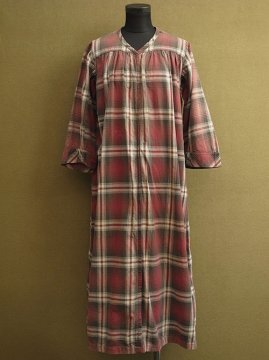 cir. 1930's red checked work dress
