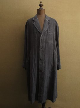 cir.1930-1940's black linen maquignon work coat