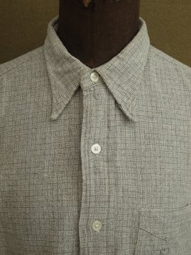 cir.1930's gray basket checked shirt