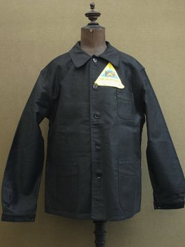 mid 20th c. black moleskin work jacket dead stock