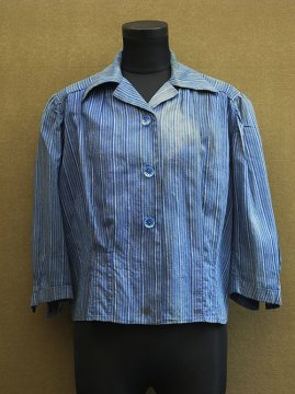 1930's-1940's blue striped blouse