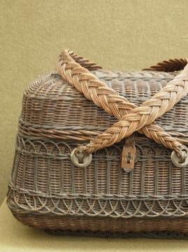 late 19th - early 20th c. black basket bag 1